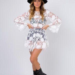 PRINCESS POLLY LACE MINI DRESS WHITE NEW